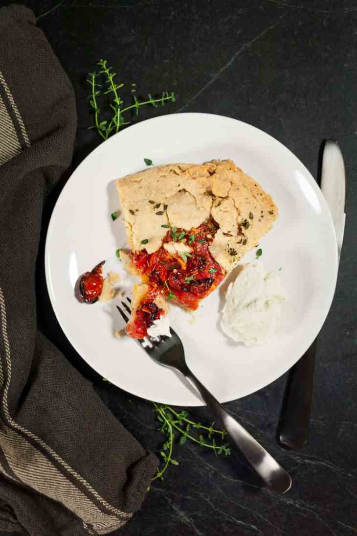 Roasted Tomato Galette with Blue Cheese Whipped Cream
