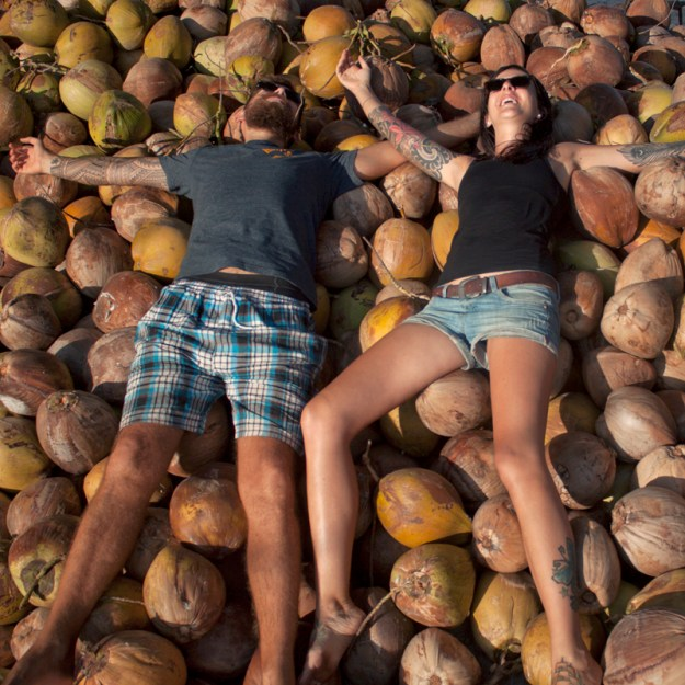 laying in coconuts