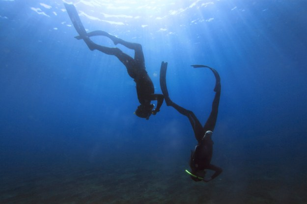Learning to freedive in Amed, Jameluk, Bali, Indonesia.