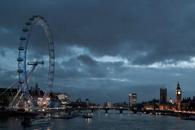London Eye and Big Ben and night, London, England.