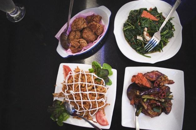 Sample vegan dishes at Man Yuan Fang in Malacca (Melaka), Malaysia
