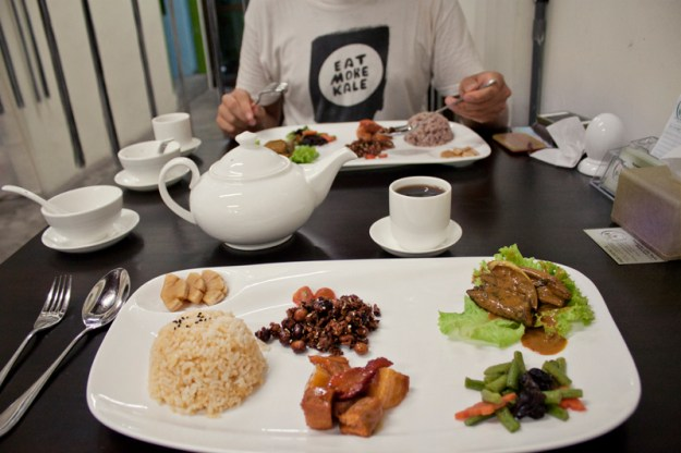 Sample plate at Vegetarian life style restaurant in Georgetown (Penang, Malaysia)