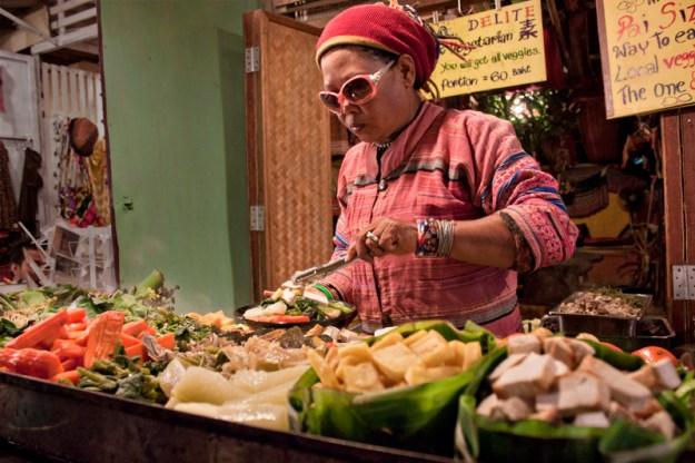 Vegan and Vegetarian Food at the Night Market, Pai, Thailand