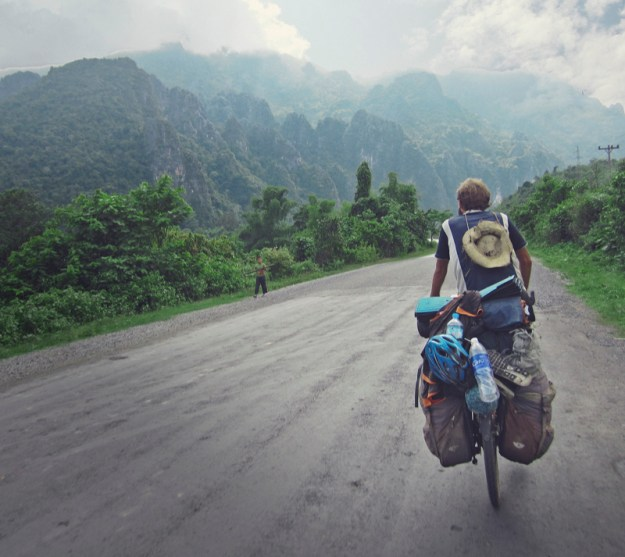 Bicycle touring between Vang Vieng and Luang Prabang, Northern Laos