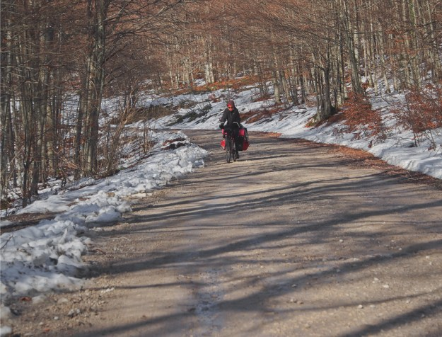 bike touring in the snow, bosnia, easter europe