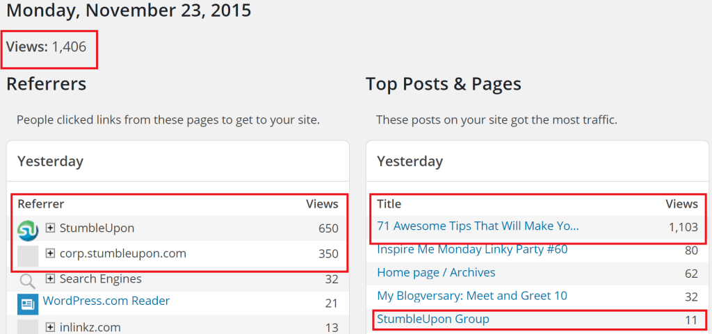 StumbleUpon causes massive #blog traffic