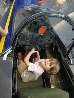 A kid's fantasy to climb in the cockpit.