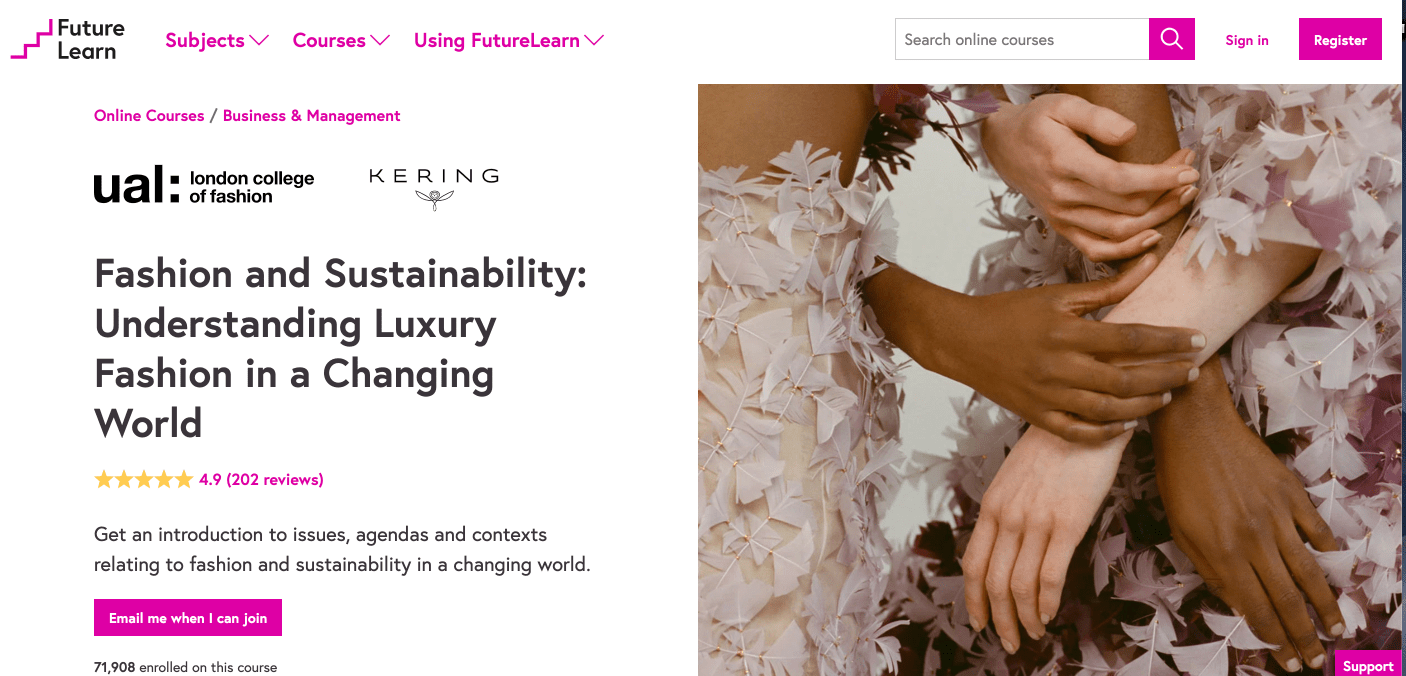 7 Free Online Sustainability & Climate Change Courses | Screenshot of Fashion & Sustainability online class.