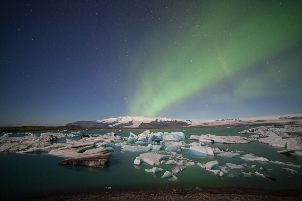 My first aurora above Jökulsárlón Glacier Lagoon. 14mm, 25s at f/2.8, ISO 1600.
