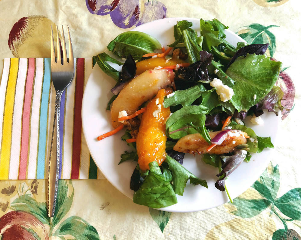 single serving of caramelized peach salad