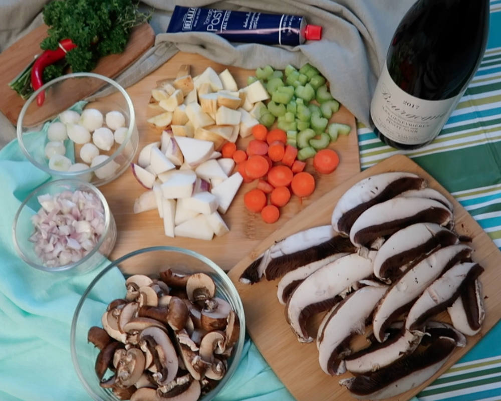 ingredients for Beef-less Bourguignon