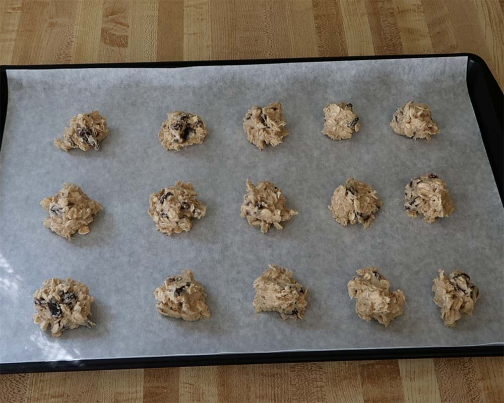 oatmeal raisin cookies ready for the oven