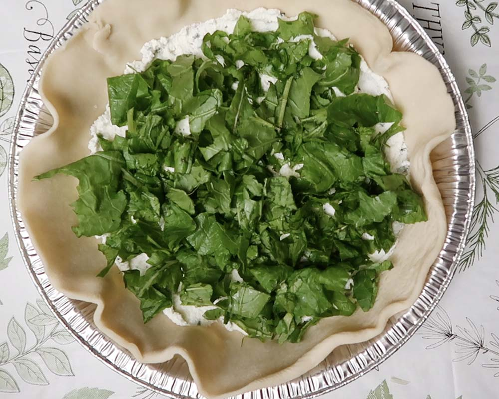 Adding the turnip greens