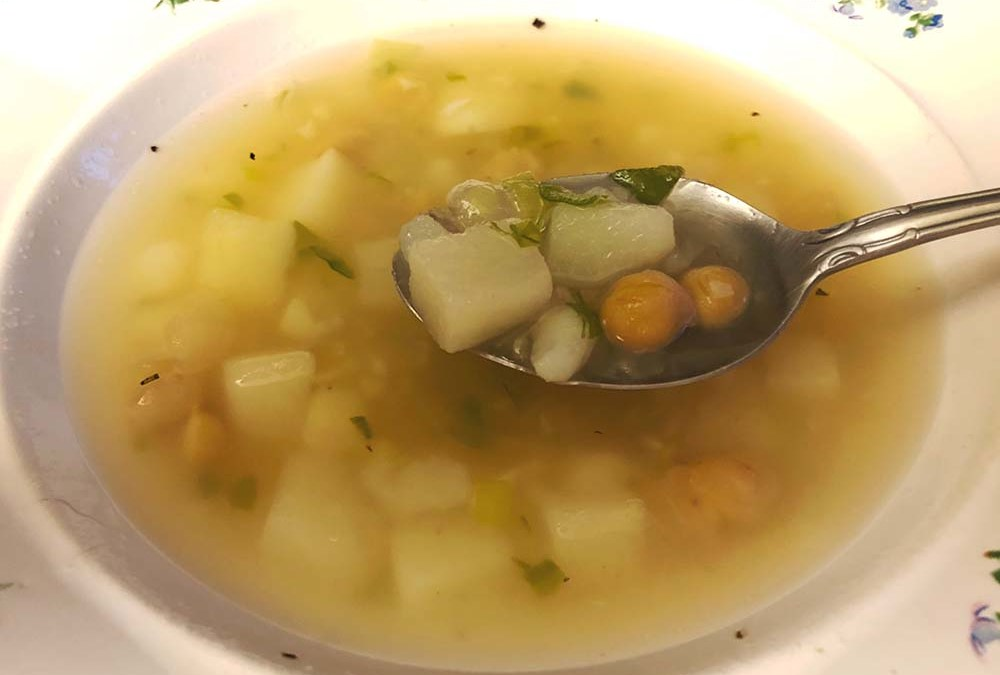 Rosemary-Scented Chicken Broth With Potatoes and Chickpeas