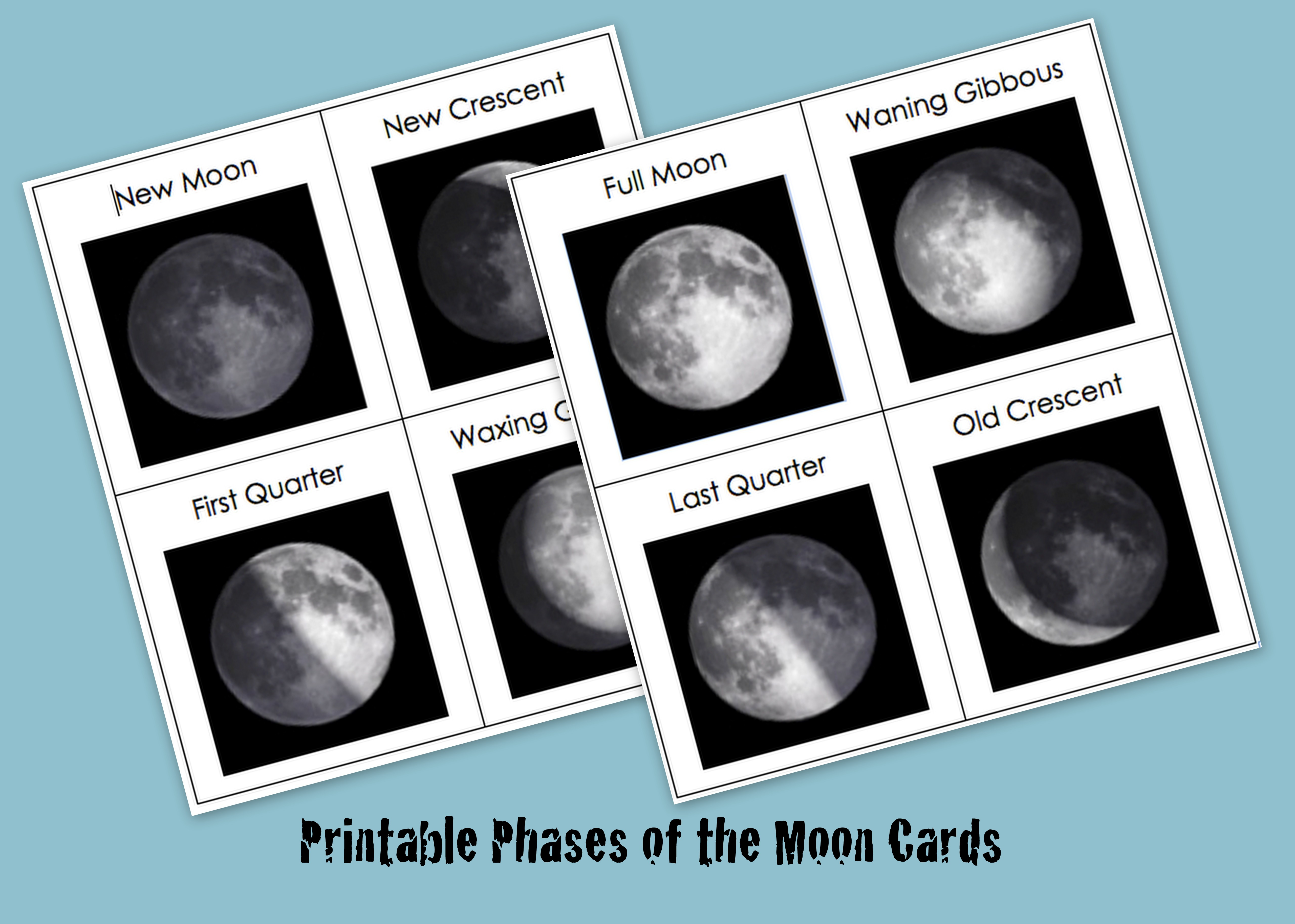Printable Phases Of The Moon Cards