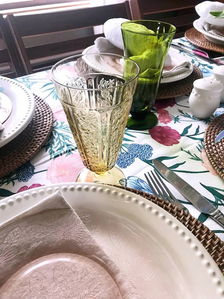 amber depression glass for Easter table setting