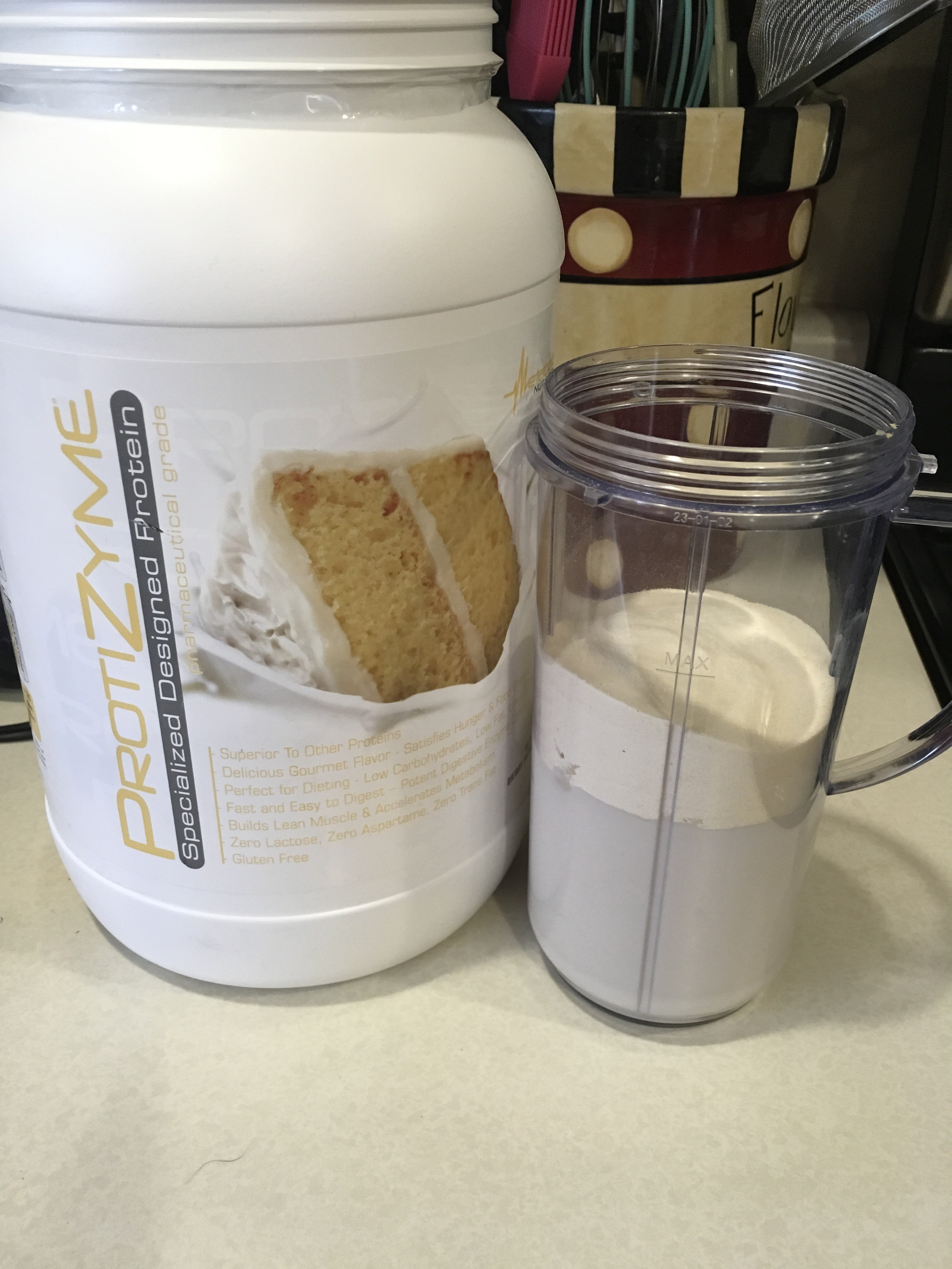 Top With Your Vanilla Protein Powder I Happen To Have Cake Flavor Right Now Almond Extracts And Blend