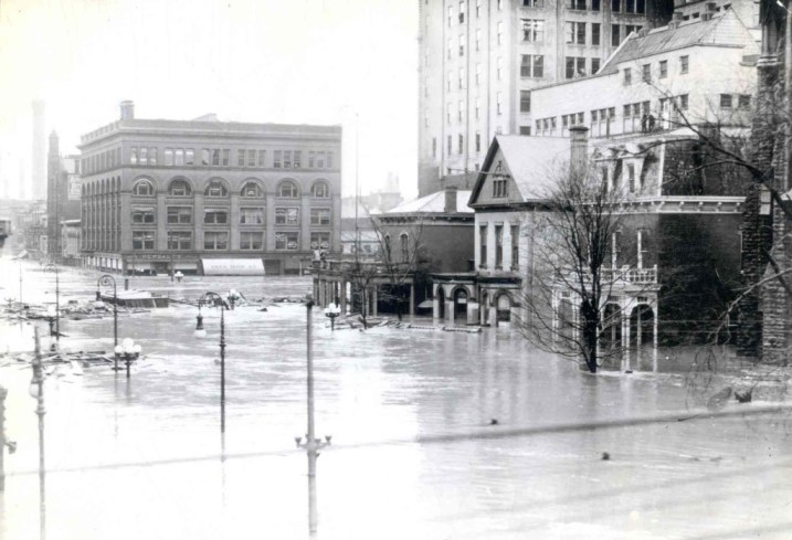 Downtown Dayton, March 1913. MS-128, Miami Conservancy District Records, Special Collections and Archives, Wright State University