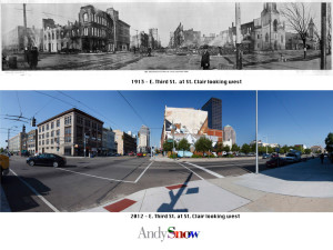 E. Third Street at St. Clair looking west 1913 & 2012 (Andy Snow)
