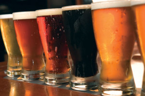 A line up of different types of beer