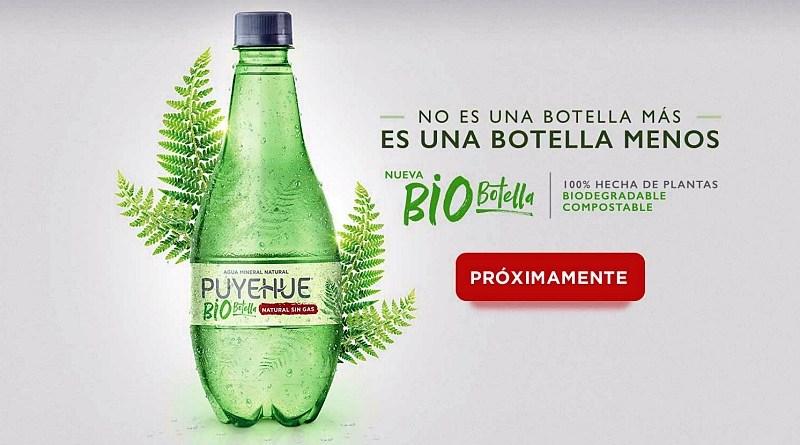 La nueva bio botella de agua mineral Puyehue está fabricada con derivados de plantas