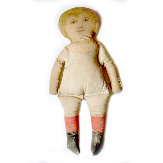 Victorian rag doll with painted face.