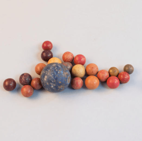 Collection of clay marbles from the 1940s