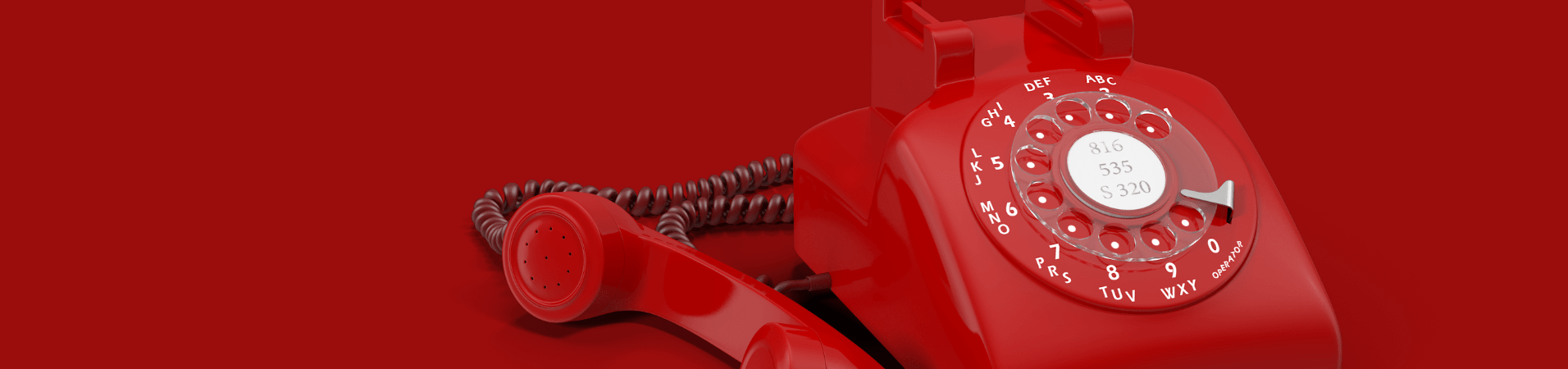 red rotary dial telephone 3D object