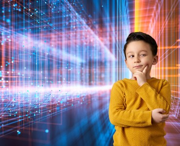 Boy thinking with coloured light and code background