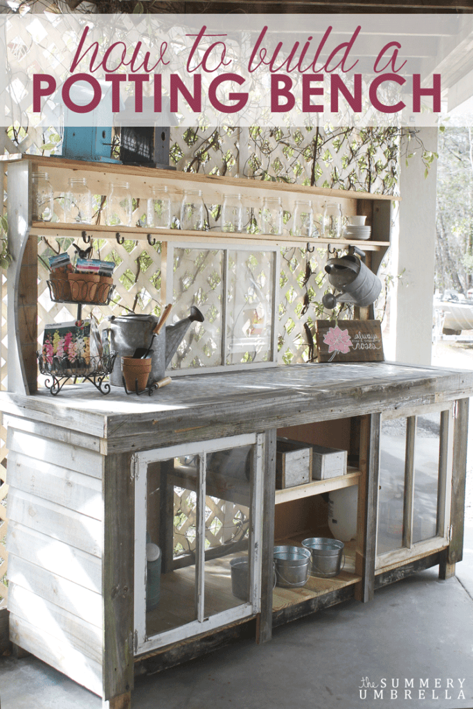 This potting bench will make the perfect gift for the home gardener. You can make it from reclaimed materials too.