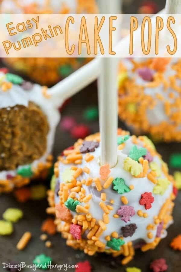 Week 190 - Easy Pumpkin Cake Pops from Dizzy Busy and Hungry
