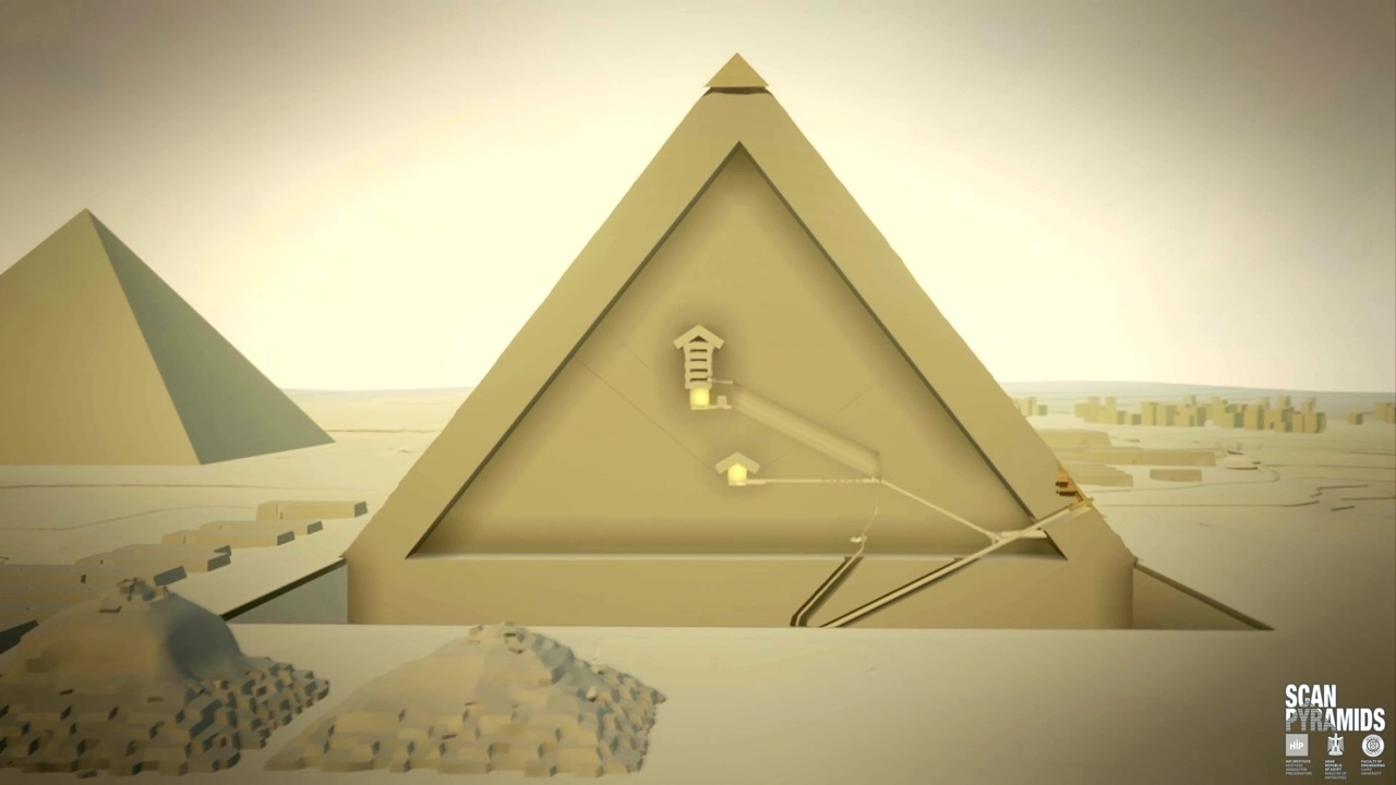 Representations of the passageways that the muon scans unveiled. Image: ScanPyramids