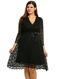 Meaneor Women Plus Size Spring 3/4 Sleeve Lace Dress ...