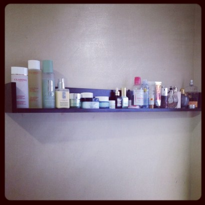 My new skincare shelf! Thanks, husband!