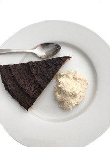 Chocolate Avocado Cake and Cashew Cream Photo Shopped