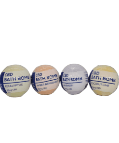 CBD Living Bath Bomb. Four scents, Eucalyptus, Coconut Lime, Bergamont, and Lavender. Uses 100% natural ingredients and Nano-CBD. 60mg of CBD per bomb