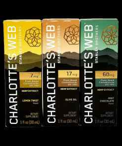 Charlotte's Web Hemp CBD Oil. 7mg, 17mg, or 60mg per 1mL. Available in Lemon Twist, Olive Oil, Orange, and Mint Chocolate