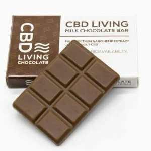 CBD Living Chocolate. Full Spectrum nano hemp extract CBD. Bars come in Dark Chocolate and Milk Chocolate. Each bar has 120MG of CBD which is 15mg per segment