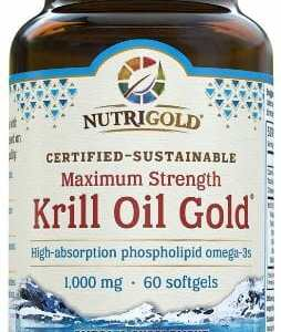 Nutrigold Kril Oil Gold. Maximum Strength 1,000mg. High-absorption phospholipid omega-3s