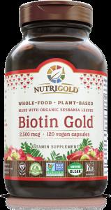 Nutrigold Biotin Gold. Plant Based Whole food. 2,500mcg