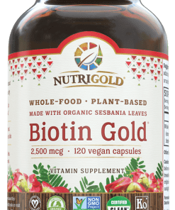 Nutrigold Biotin Gold. Plant Based Whole food. 2,500mcg