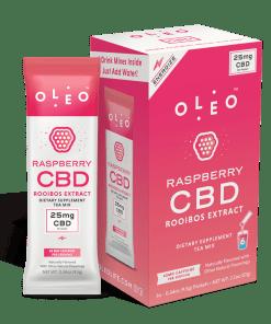 Oleo Raspberry CBD Rooibos Tea. 25mg of CBD per packet.