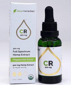 Clean Remedies Hemp CBD Oil - USDA Certified Organic. 900mg Peppermint Hemp Extract