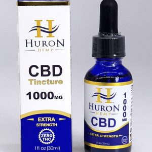 Huron Hemp CBD Tinctures. Zero THC. USDA Organic. 1000mg. Relief from pain, inflammation, stress, and anxiety.