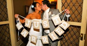 """just married"" burlap banner"