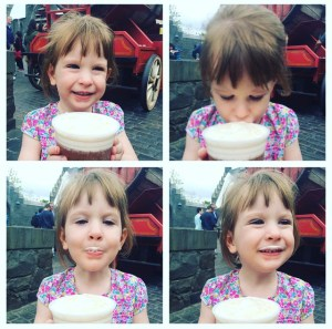 The many faces of her first Butterbeer!
