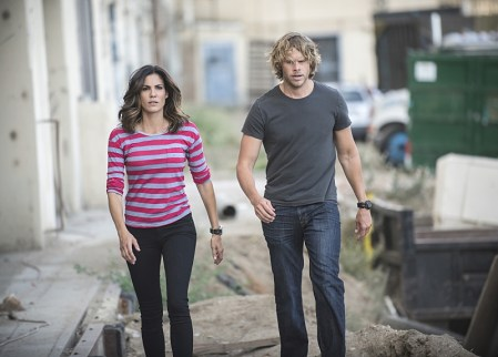 """Active Measures"" -- Pictured: Daniela Ruah (Special Agent Kensi Blye) and Eric Christian Olsen (LAPD Liaison Marty Deeks). The seventh season resumes with Callen embarking on a secret project, leaving Sam, and the entire team in the dark. After Hetty demands his operation be shut down, the team is tasked with locating Callen before he finds himself in over his head on the seventh season premiere of NCIS: LOS ANGELES, Monday, Sept. 21 (9:59-11:00, ET/PT), on the CBS Television Network. Photo: Neil Jacobs/CBS ©2015 CBS Broadcasting, Inc. All Rights Reserved."