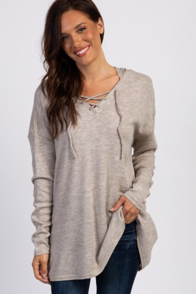 knit lace up hoodie