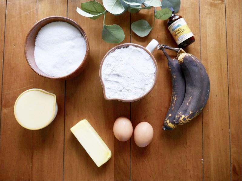 flat lay of banana bread ingredients