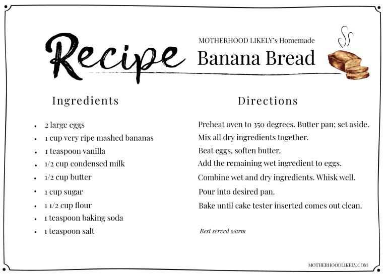 fresh banana bread recipe card